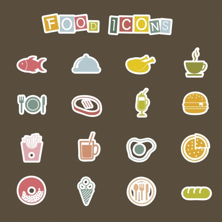 cute food icons over brown background. vector Stock Vector - 16287501