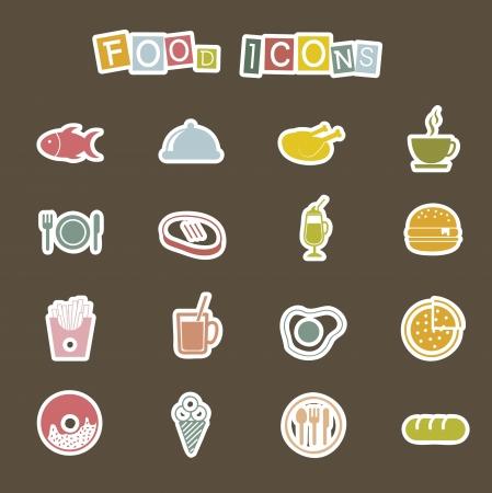 Icone di cibo carino su sfondo marrone. vettore Vettoriali