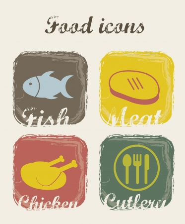 food icons over beige background. vector illustration Vector