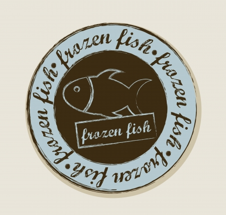 frozen fish: frozen fish label over beige background. vector illustration