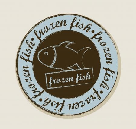 frozen fish: frozen fish label over beige background. vector illustration
