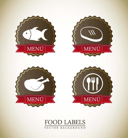 food labels over vintage background. vector illustration Vector