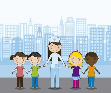 enfermera caricatura: grupo de ni�os felices con el m�dico, el equipo. ilustraci�n vectorial