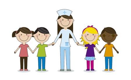 enfermero caricatura: grupo de ni�os felices con el m�dico, el equipo. ilustraci�n vectorial