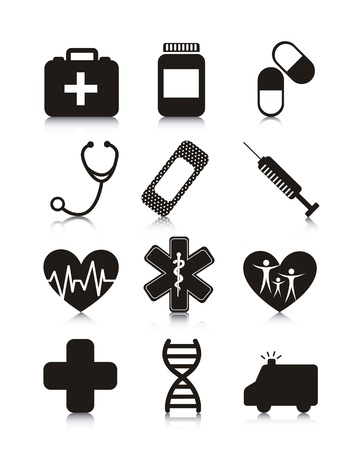 adn: Iconos médicos sobre fondo blanco. ilustración vectorial Vectores