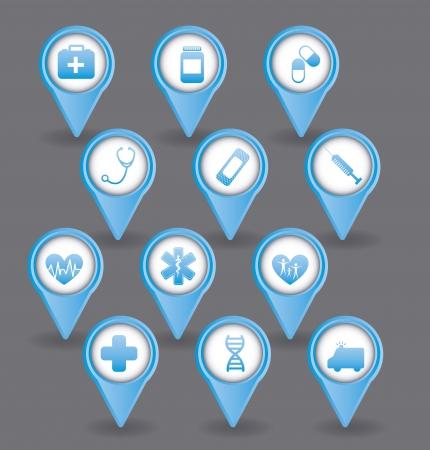 iconos azules médicas sobre fondo gris. ilustración vectorial