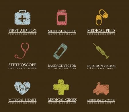 obvaz: čmáranice lékařské ikony na hnědé pozadí. vektorové ilustrace