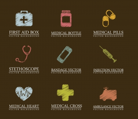 medical box: scribble  medical icons over brown background. vector  illustration