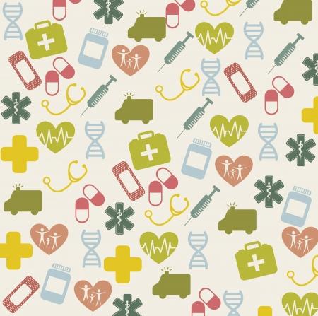 hilfsmittel: Vintage medical icons �ber beige Hintergrund. Vektor-Illustration