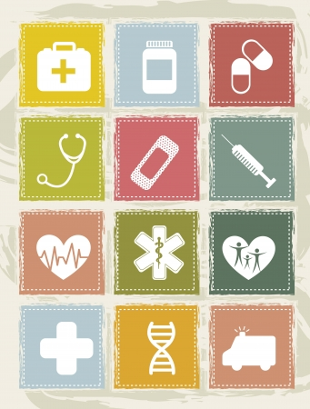 first aid box: vintage medical icons over grunge background. vector  illustration Illustration