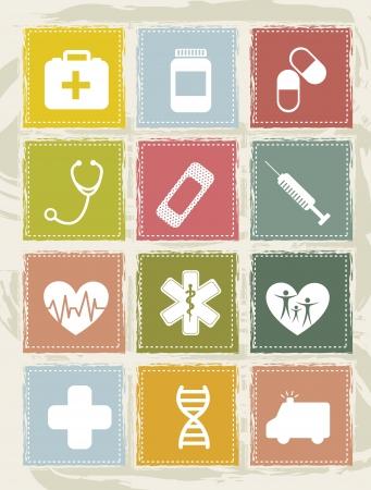 pill bottle: vintage medical icons over grunge background. vector  illustration Illustration