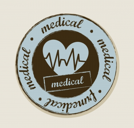 grunge heartbeats label, vintage style. vector illustration Vector