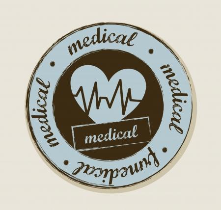 cardioid: latidos del coraz�n grunge etiqueta, estilo vintage. ilustraci�n vectorial