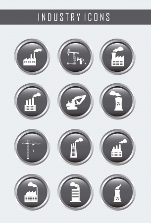 industry buttons over gray background. vector illustration Stock Vector - 16287390