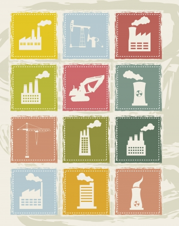vintage industry icons over gruge background. vector illustration Stock Vector - 16288074