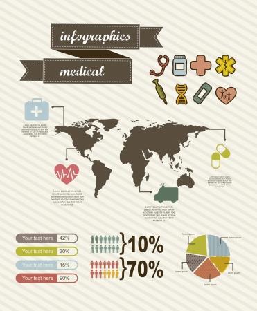 medical box: infographics of medical, vintage style. vector illustration Illustration