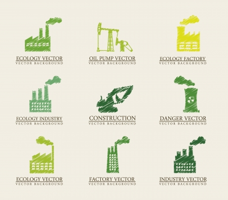 silhouette industrial factory: green industry icons over beige background. vector illustration Illustration