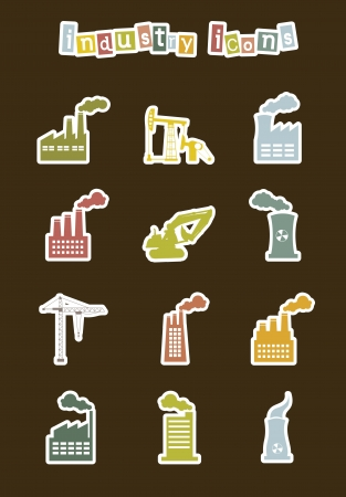 industry stickers over brown background. vector illustration Vector