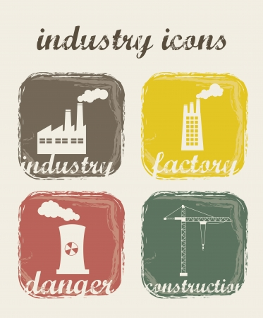 grunge industry icons over beige background. vector illustration Stock Vector - 16288644