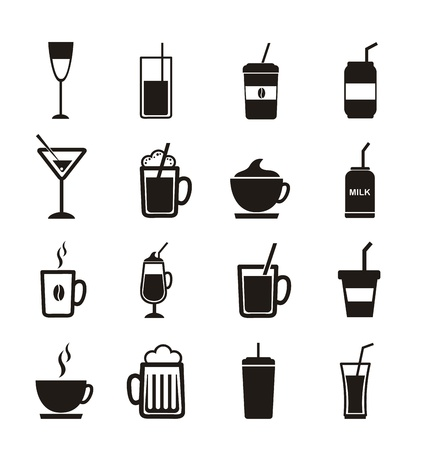 plastic straw: drinks icons over white background. vector illustration