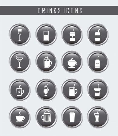 drinks buttons over gray background. vector illustration Vector