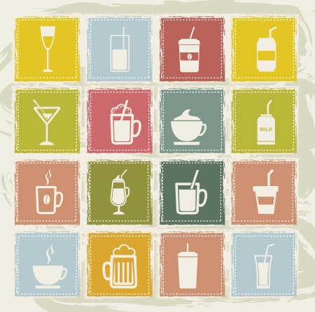 vintage drinks icons over grunge background. vector illustration Vector