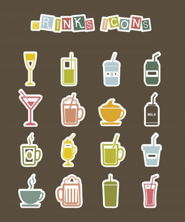 drinks icons stickers over brown background. vector illustration Vector