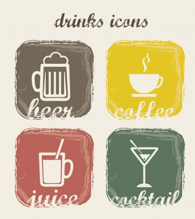 drinks icons over beige background. vector illustration Vector