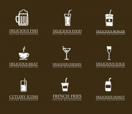 drinks icons over brown background. vector illustration Vector