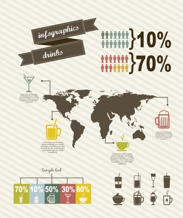 infographics of drinks, vintage style. vector illustration Vector