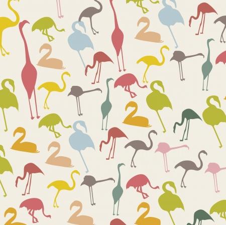 aerial animal: vintage flamingo over beige background, animal. vector illustration