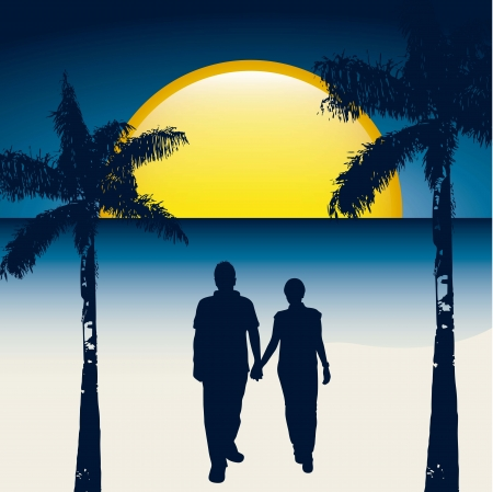 couple over beach in the night. vector illustration Vector
