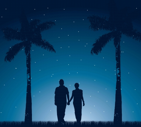 couple walking in the night. vector illustration Stock Vector - 16287954