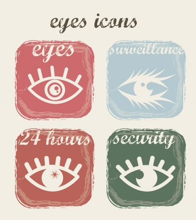 vintage eyes icons over beige background. vector illustration Stock Vector - 16288031