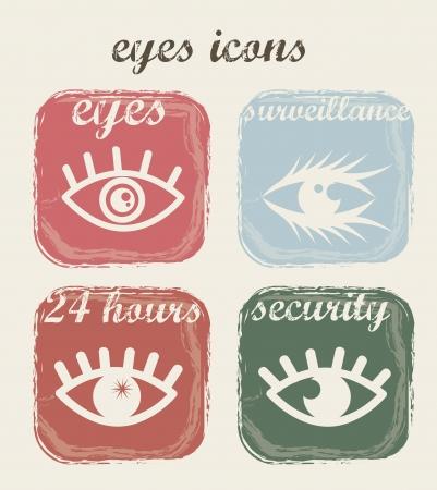 four eyes: vintage eyes icons over beige background. vector illustration Illustration