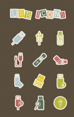 usb icons over white background. vector illustration Stock Vector - 16287786