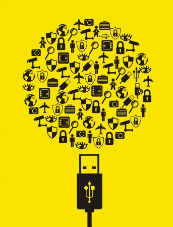 retina scan: security icons over yellow background. vector illustration Illustration