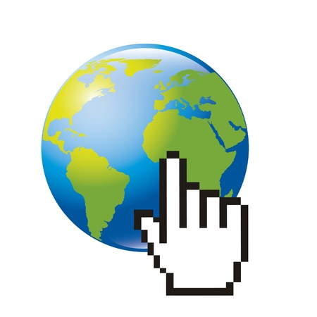 planet y hand cursor over white backgrond. vector illustration Vector