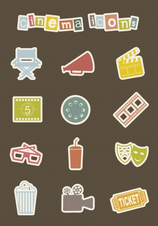 cinema icons over white background. vector illustration Vector