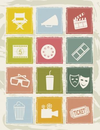 icone del cinema su sfondo bianco. illustrazione vettoriale