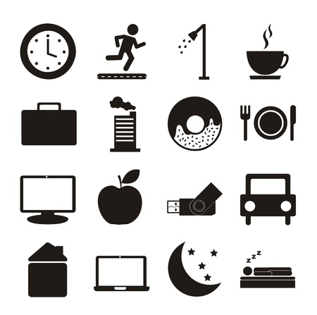 wake: daily routine icons over white background. vector illustration Illustration