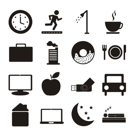 diarias de rutina iconos sobre fondo blanco. ilustración vectorial