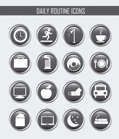 daily routine icons over white background. vector illustration Illustration