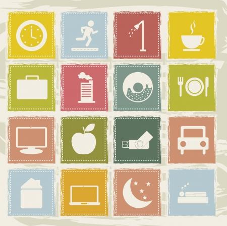 mindennapi: napi rutin ikonok, mint a fehér háttér. vektoros illusztráció Illusztráció