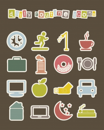 morning routine: daily routine icons over white background. vector illustration Illustration