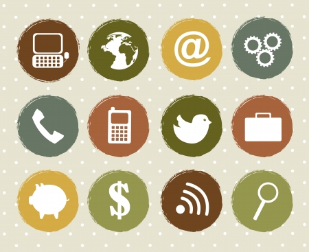 vintage telephone: communication icons over vintage over background. vector Illustration
