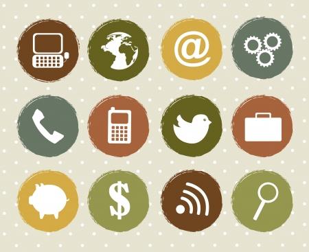 trabajo social: Iconos de comunicaci�n a lo largo vendimia sobre el fondo. vector