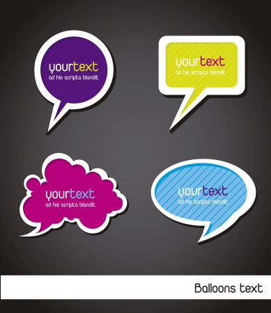 colorful balloons text over black background. vector  Vector