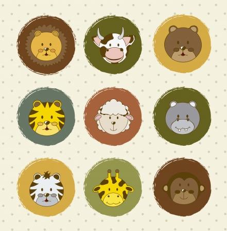 vaca caricatura: iconos de animales sobre fondo vintage. ilustraci�n vectorial