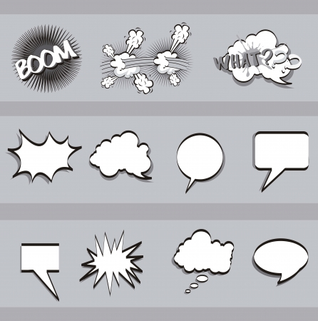 balloons text over gray background, comic. vector Vector